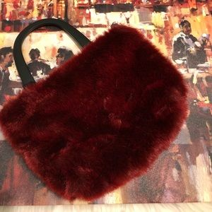 Handbags - Faux Fur Tote with Wooden Handles!